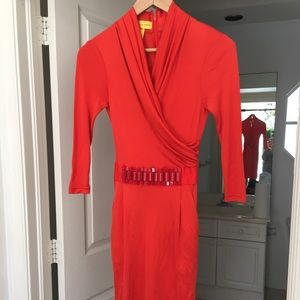 Catherine malandrino red silk dress size p